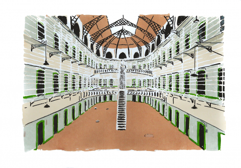 Kilmainham Gaol. Screenprint on Fabriano © Jonathan Brennan, 2019