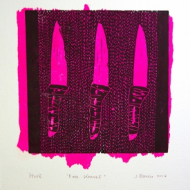 Pink Knives - Linocut print with chine colle © Jonathan Brennan