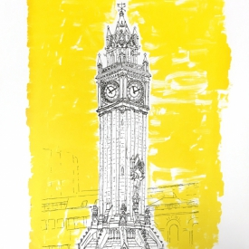 Albert Memorial Clock - Screenprint based on original drawing - full © Jonathan Brennan