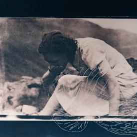 Drinking woman with gryphaea. 1/4 V.E. Tea-toned cyanotype and silkscreen on Fabriano © Jonathan Brennan, 2020