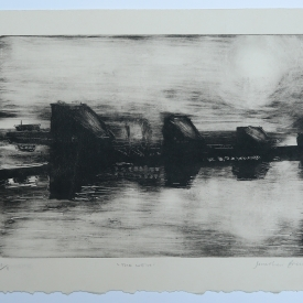 The Weir. Monotype on Fabriano Rosaspina © Jonathan Brennan