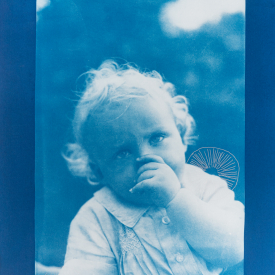 Young child with trochocyathus. 1/4 V.E. Cyanotype and silkscreen on Fabriano ©Jonathan Brennan, 2020