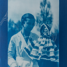 Woman with doll and ichthyosaur. 1/4 V.E. Cyanotype and silkscreen on Fabriano © Jonathan Brennan, 2020