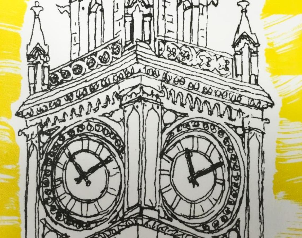 Albert Memorial Clock - Screenprint based on original drawing © Jonathan Brennan 2017